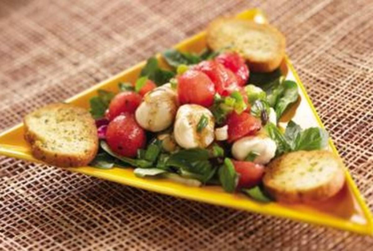 Fresh Mozzarella Watermelon Salad with Purple Basil