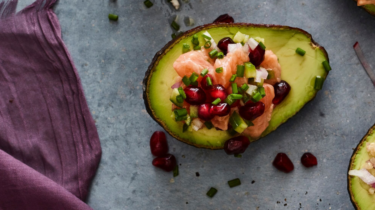 Salmon Ceviche Stuffed Avocado