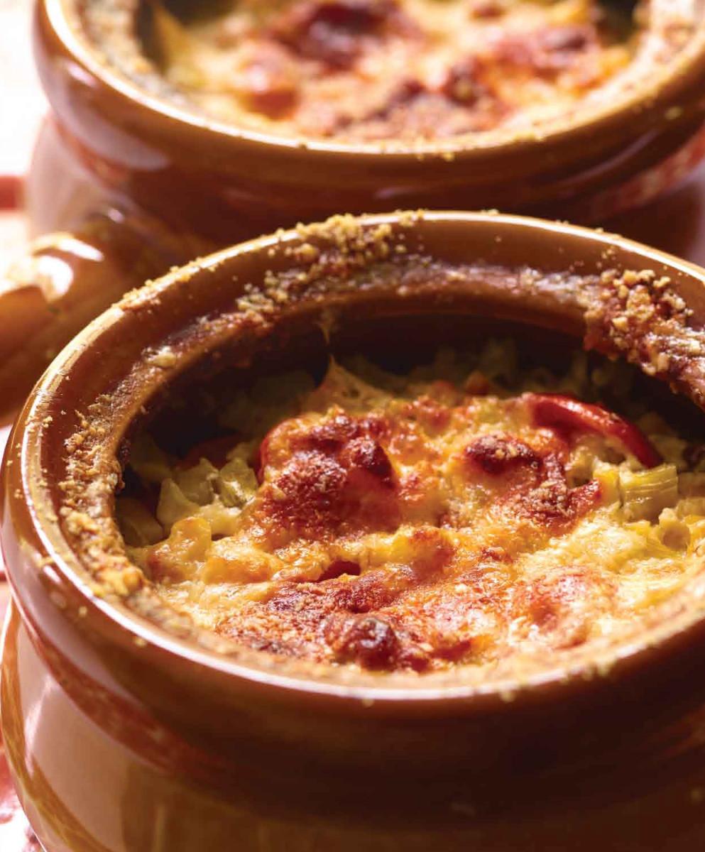 cheesy vegetable crocks