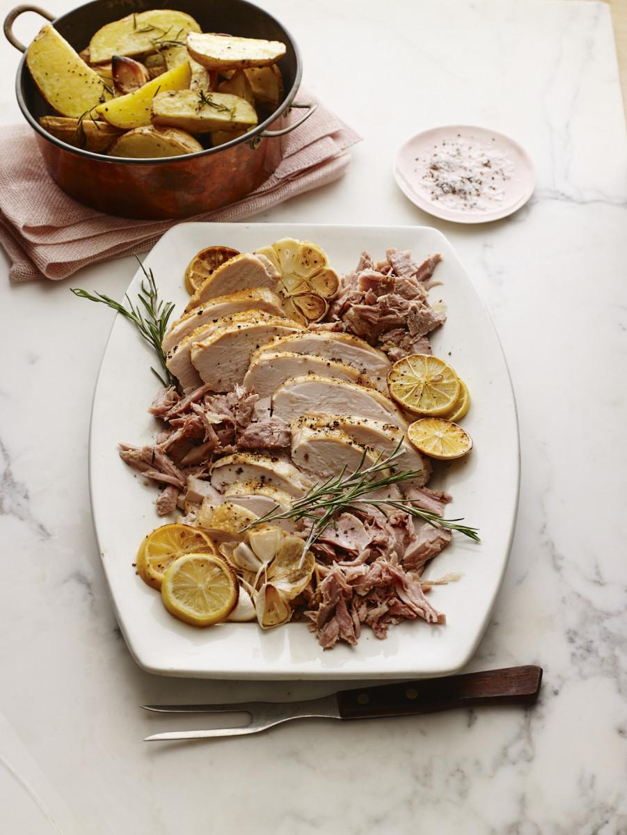 Herb Roasted Turkey Breast with Turkey Confit