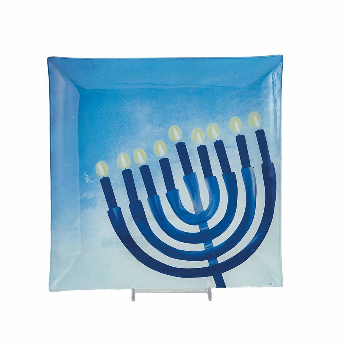 Hanukkah glass serving tray