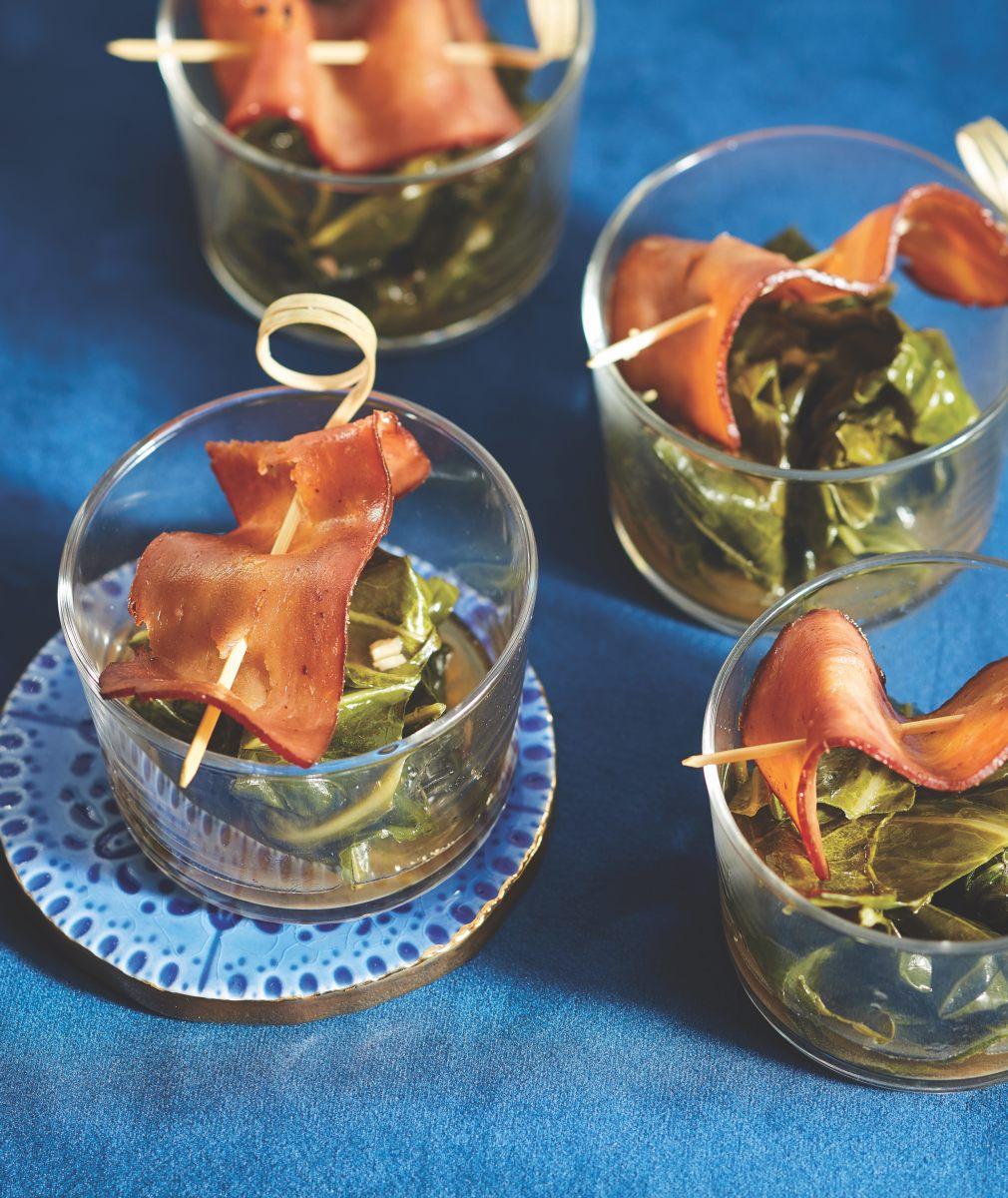 Braised Collard Greens with Turkey Bacon