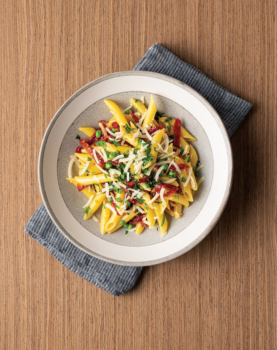 "PENNE ""CARBONARA"" WITH SWEETPEAS AND OVEN-DRIED TOMATOES"