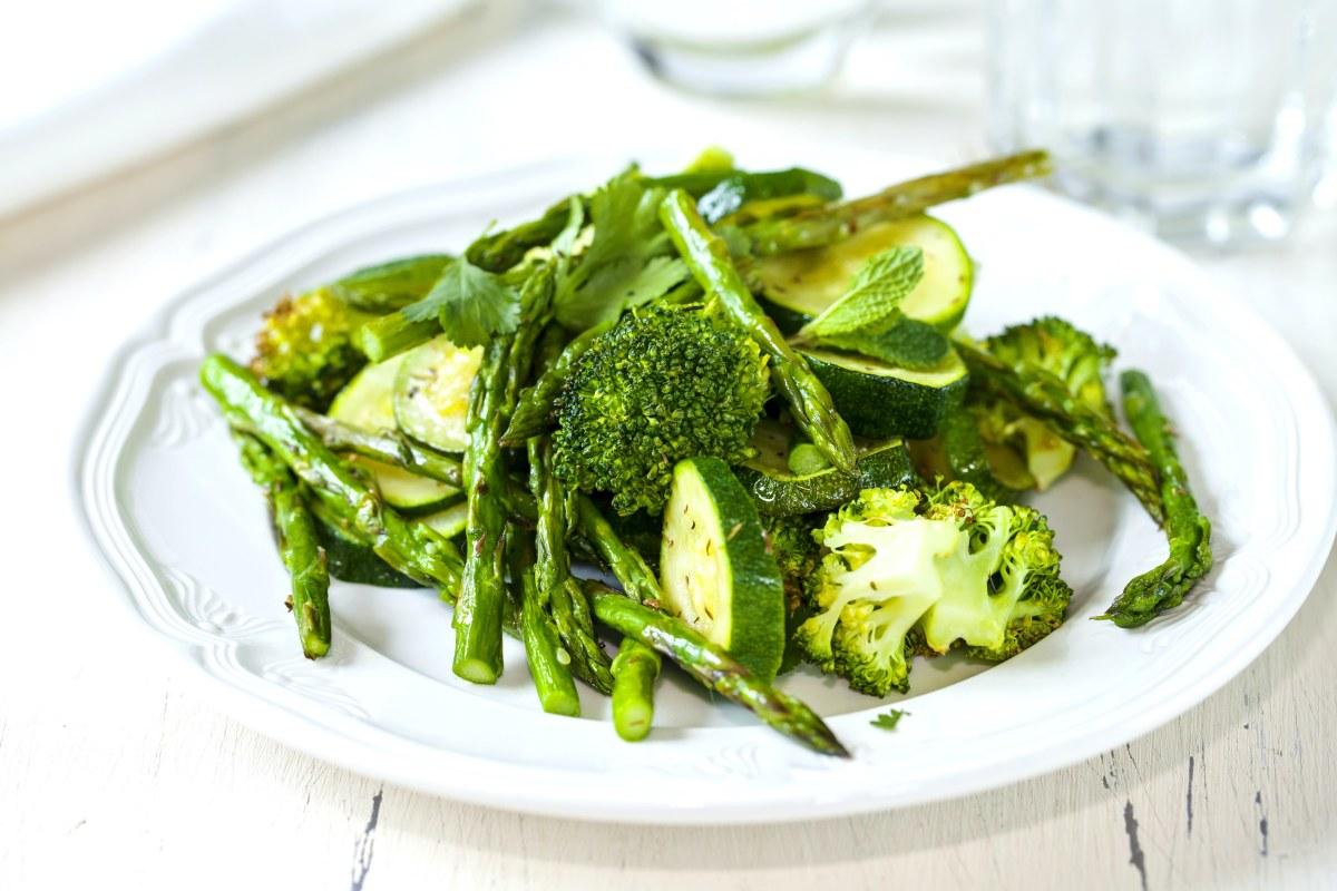 Roasted green veg