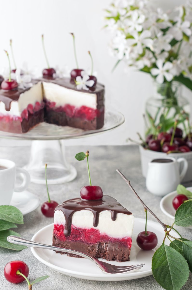 Lemon Cherry Chocolate Sorbet Cake