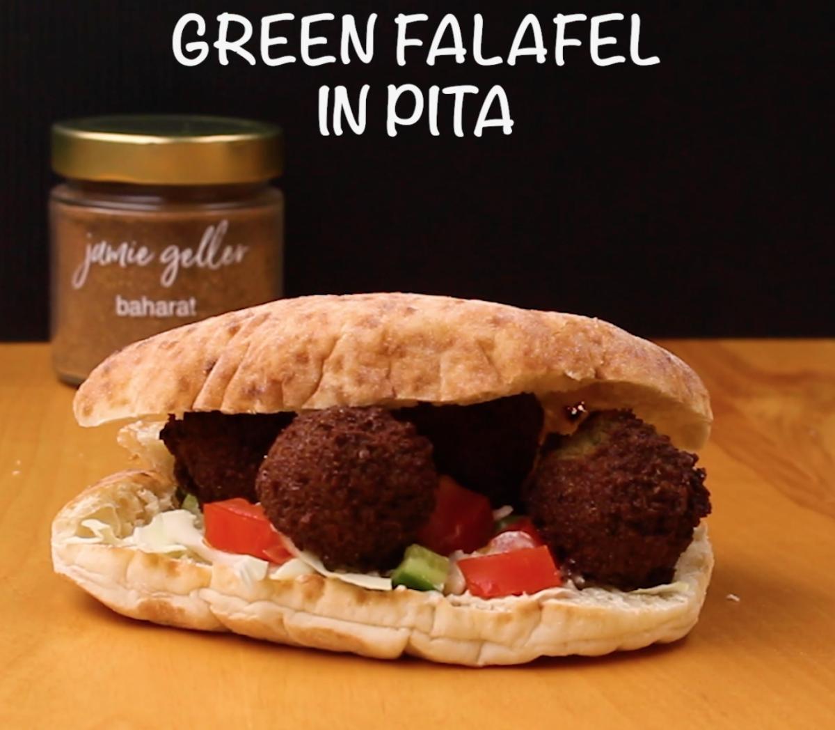 Green Falafel in Pita