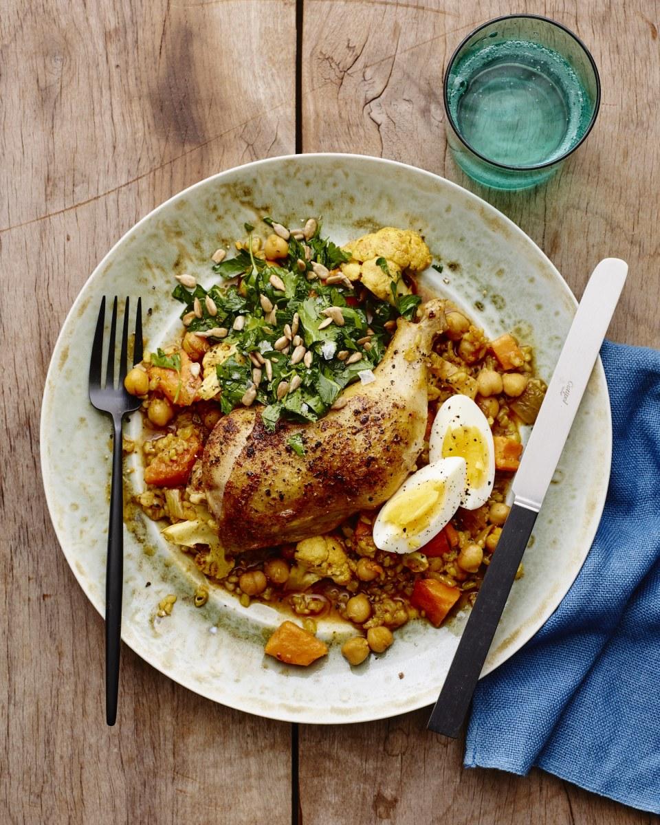 chicken stew cholent with parsley salad
